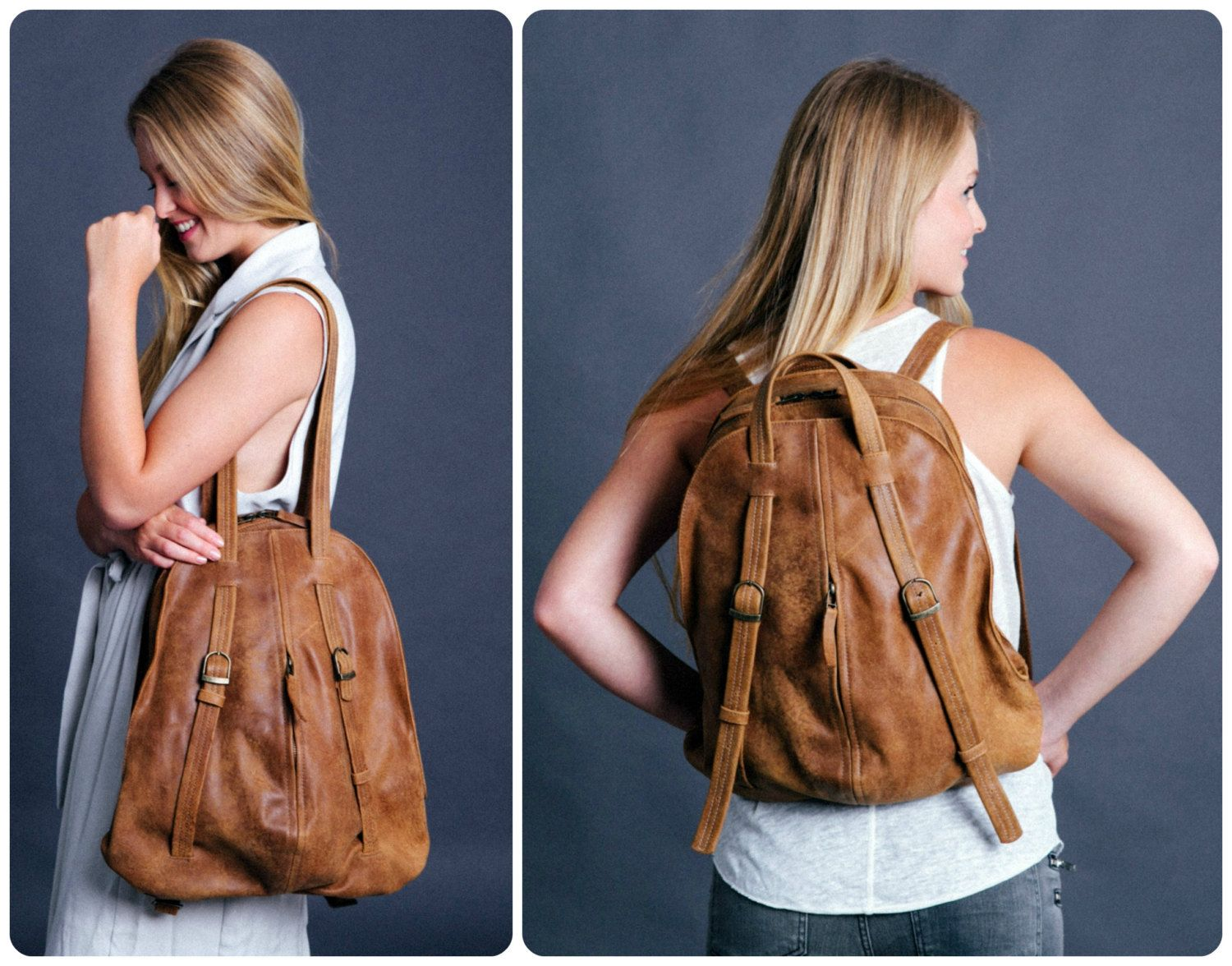 Brown Leather BackPack - Leather Tote Bag - Laptop Backpack ...