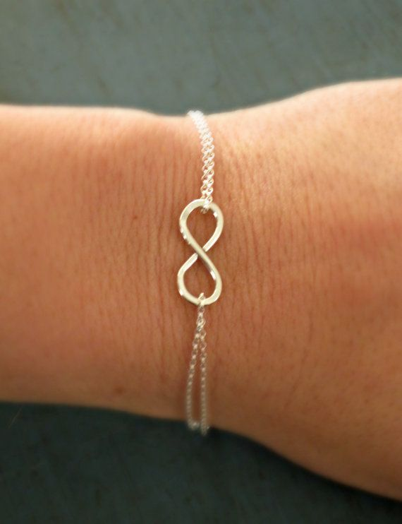 Sterling Silver Infinity Bracelet Simple   Minimalist Jewelry Designer Inspired bridesmaid gifts