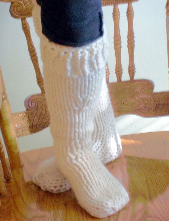 Hand Knit Extra Thick Socks Boot Liners by KnittingOleBag on Etsy