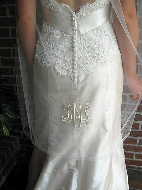 Bridal Veil Personalized with embroidered monogrammed Fingertip length with organza ribbon edge