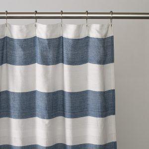 Navy And White Horizontal Stripe Shower Curtain