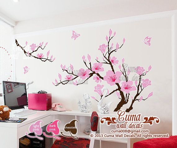 Pink Flower Wall Decals Cherry Blossom Vinyl Wall Decals Tree Office  Wedding Wall Murals Nursery Wall