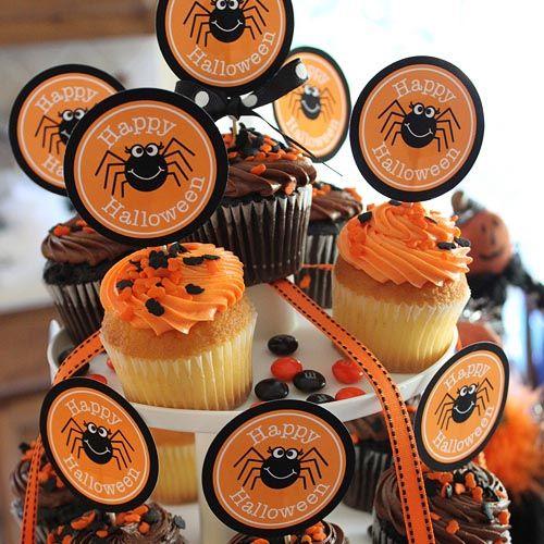 dibujos-para-poner-en-la-comida-en-halloween-en-divertidas-cupcakes - fun halloween party ideas