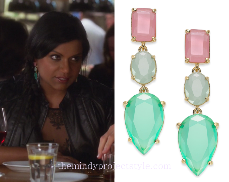 Mindy wore these pretty pink and green crystal drop earrings on her...