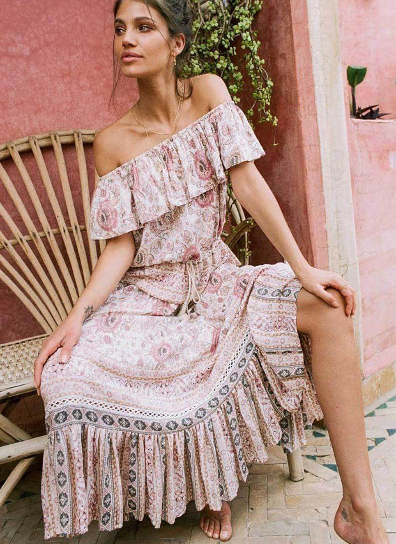 Off The Shoulder 2 Piece Boho Maxi Dresses Boho Outfits Boho Dress Fashion [ 1408 x 1024 Pixel ]