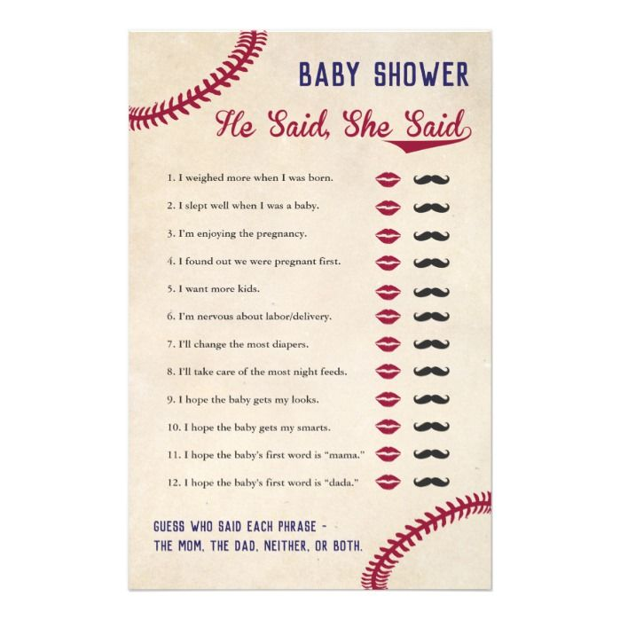 Baseball Themed Baby Shower He Said She Said Game Flyer | Zazzle.com