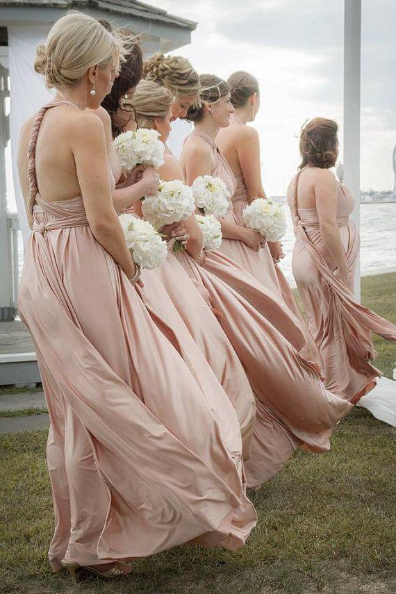 Blush Bridesmaids Dress Infinity Dress Bridesmaids Infinity dress Multi Dress Bridesmaids Wrap Dress Bridesmaids Convertible Dress
