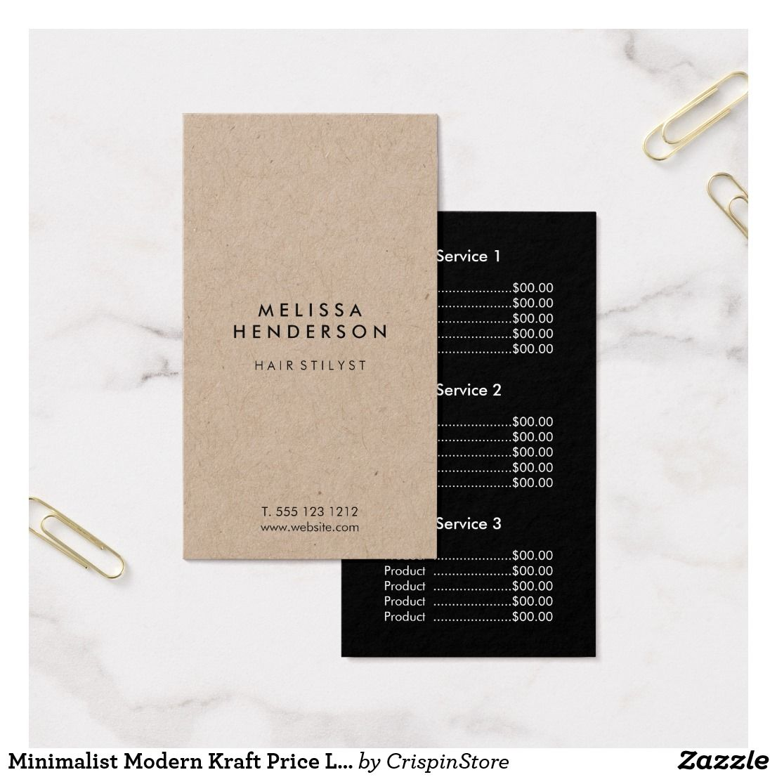 Minimalist Modern Kraft Price List Business Card Zazzle Com