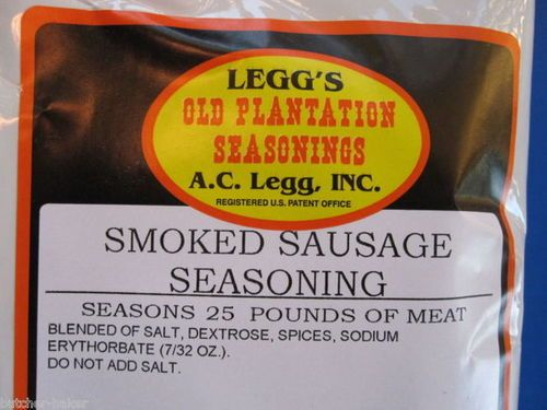 Original Legg's Old Plantation Seasonings Blend #105Correctly seasons 25 Lbs of meat for Smoked Links sausage.Includes 1 oz of cure for each seasoning bag *Optional use*Just add venison, pork, beef or your favorite wild game meat.ONE Pack in this order. T