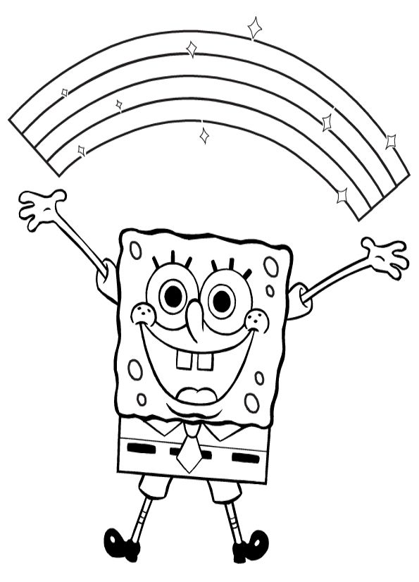 Spongebob Very Happy Coloring Page | Coloring pages | Pinterest ...