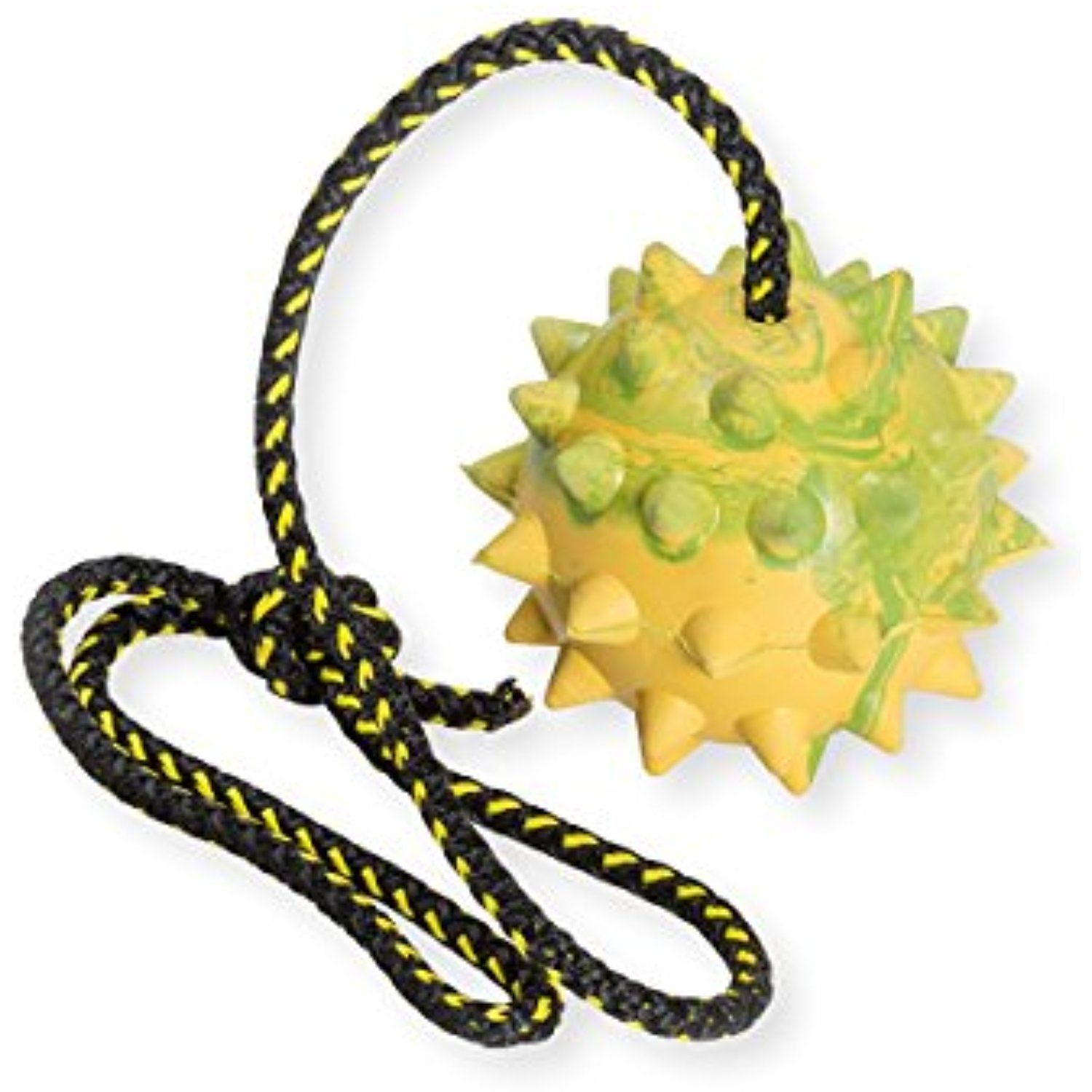 Dog Rubber Spike Ball On Rope Toy Training Reward Fetch