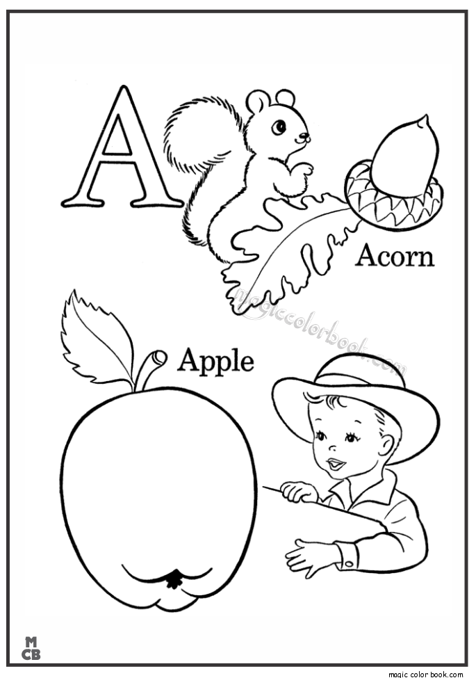 alphabet a with picture coloring pages apple