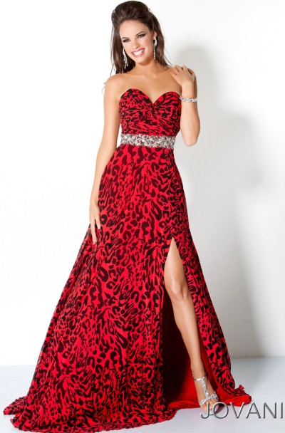 Jovani Red and Black Animal Spots Long Prom Dress 111041 | Dresses ...