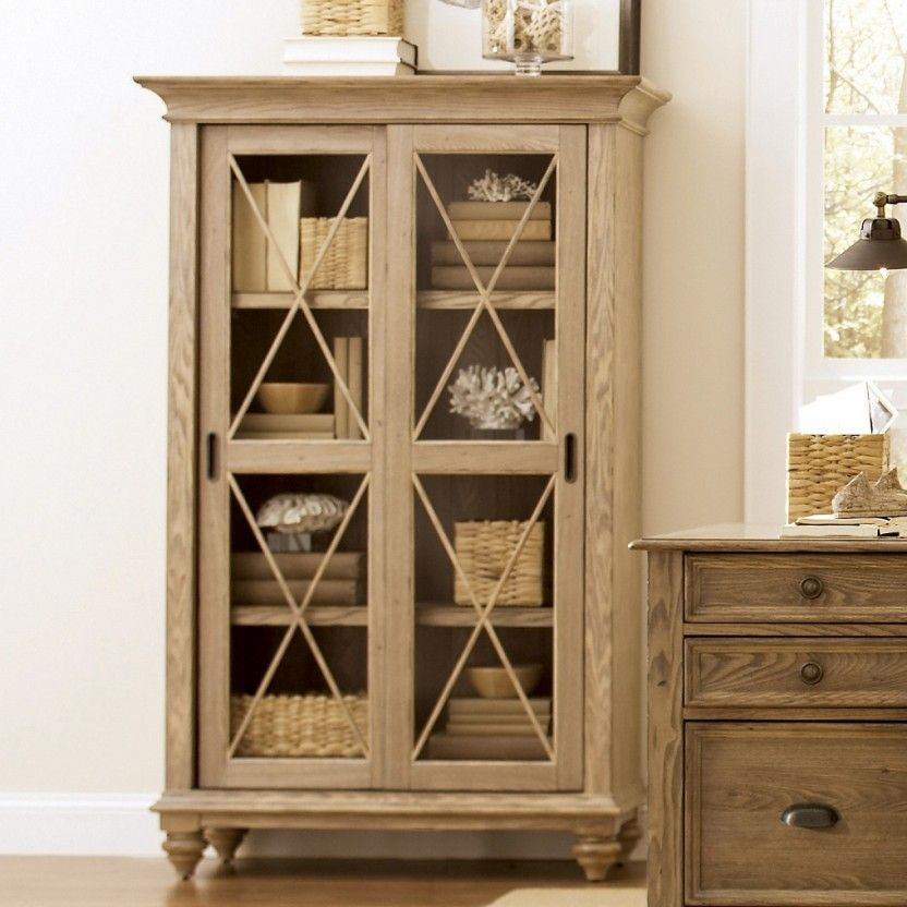 Coventry Weathered Driftwood Sliding Door Bookcase By Riverside Furniture