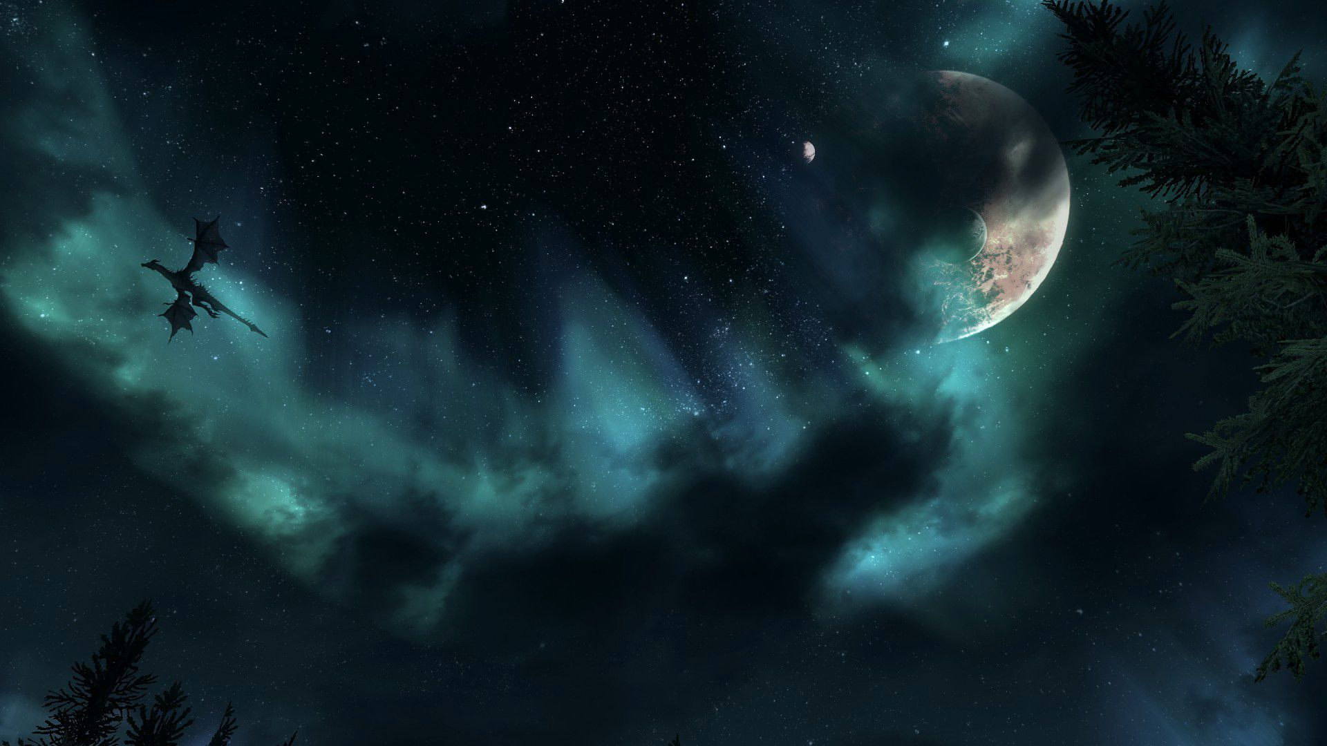 Image result for skyrim night sky wallpaper