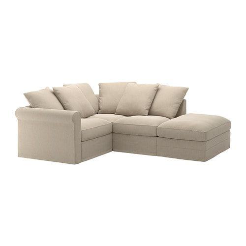 Gronlid Sectional 3 Seat Corner With Open End Sporda Natural Ikea Corner Sofa Sofa Back Cushions Fabric Sofa