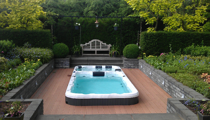 Swimspa terrace built in zwemspa ingebouwd in terras for Terrace jacuzzi
