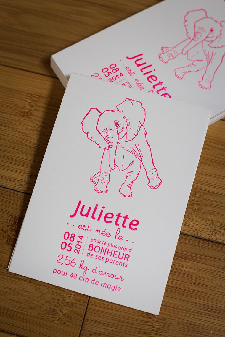 Faire-part naissance letterpress. Format 105×150. Papier 100% coton 600gr. Impression recto une couleur: rose fluo  #letterpress #creation