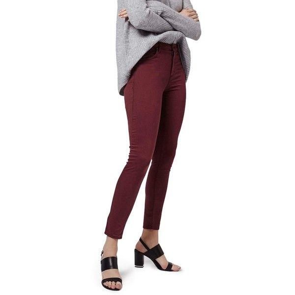 Maroon skinny ankle jeans