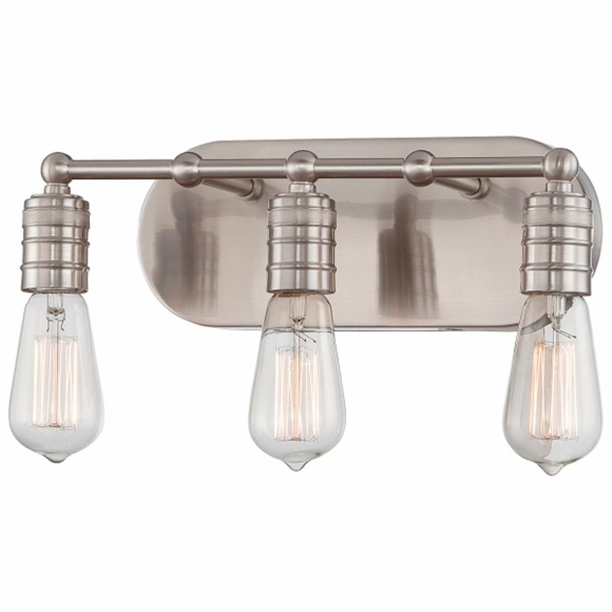Minimalist Edison 3Light Bath Light  Bath Light Nickel Finish Captivating Industrial Bathroom Light Fixtures Design Ideas