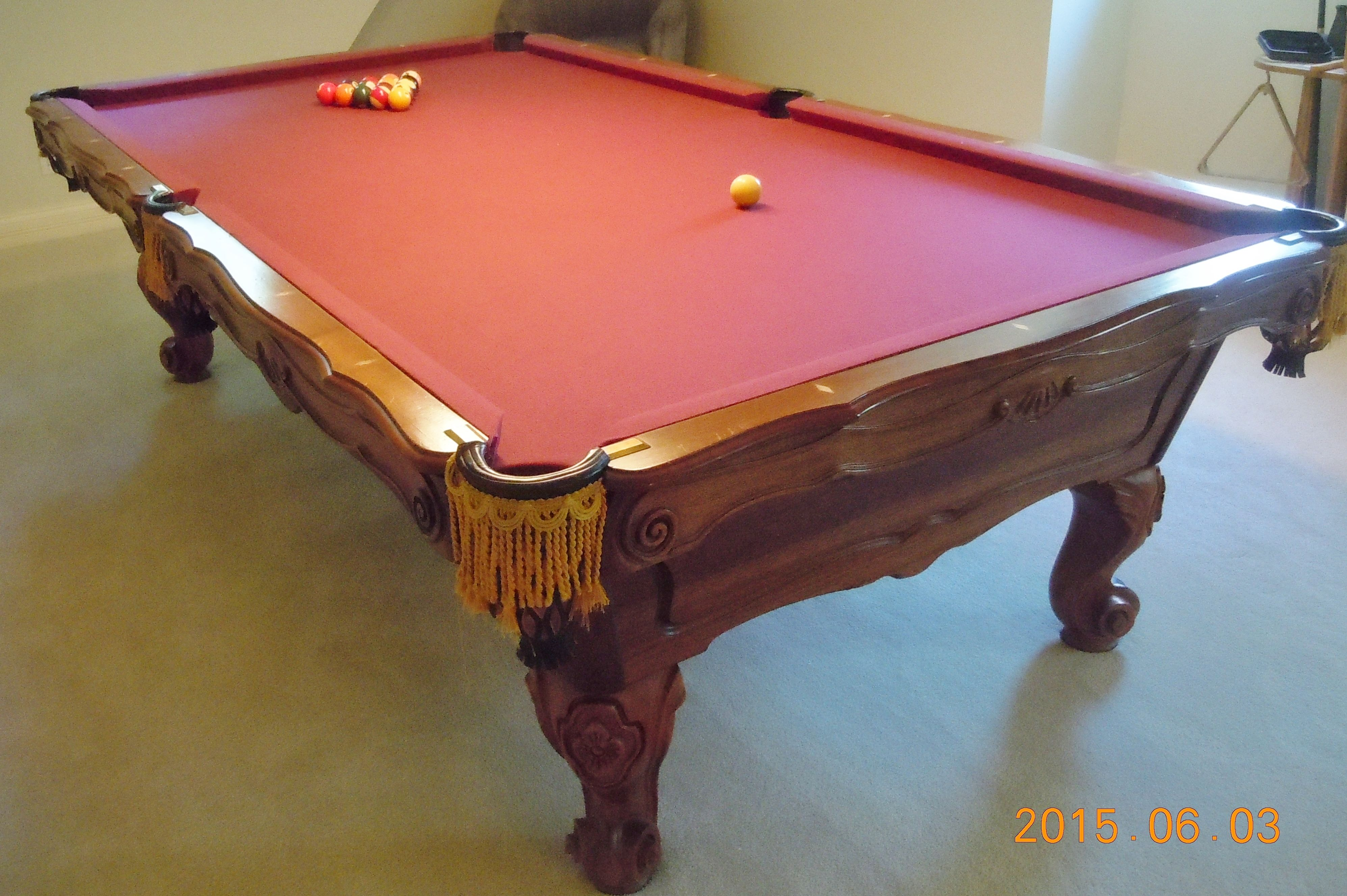 9 39 brunswick billiards orleans solid wood sold used for Brunswick pool tables
