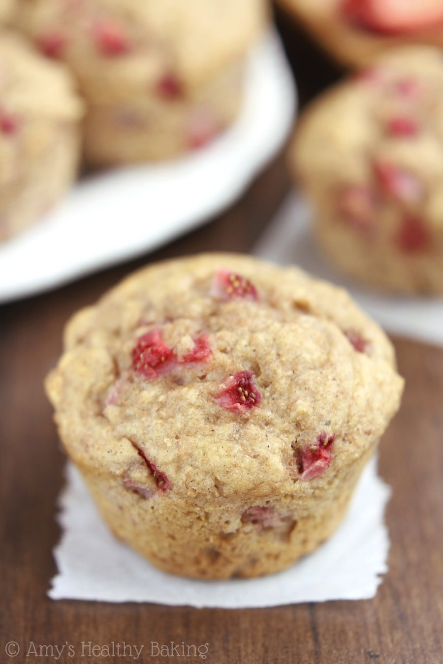 Whole Wheat Strawberry Banana Muffins -- the BEST I've ever made! They're 100% clean eating, but they don't taste healthy at all!