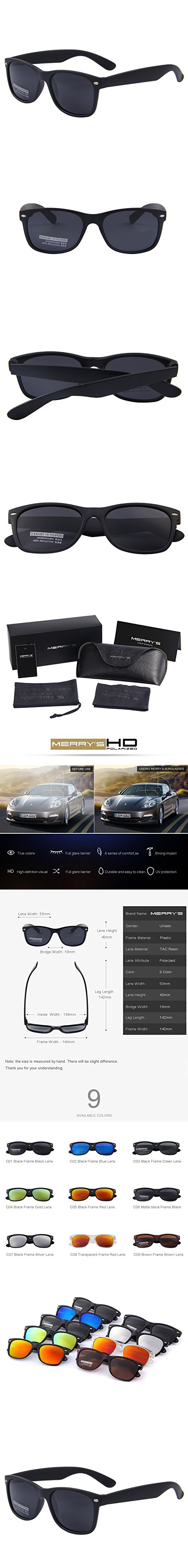 f094164916 MERRY S Retro Rewind Classic Polarized Wayfarer Sunglasses S683  (MatteBlack