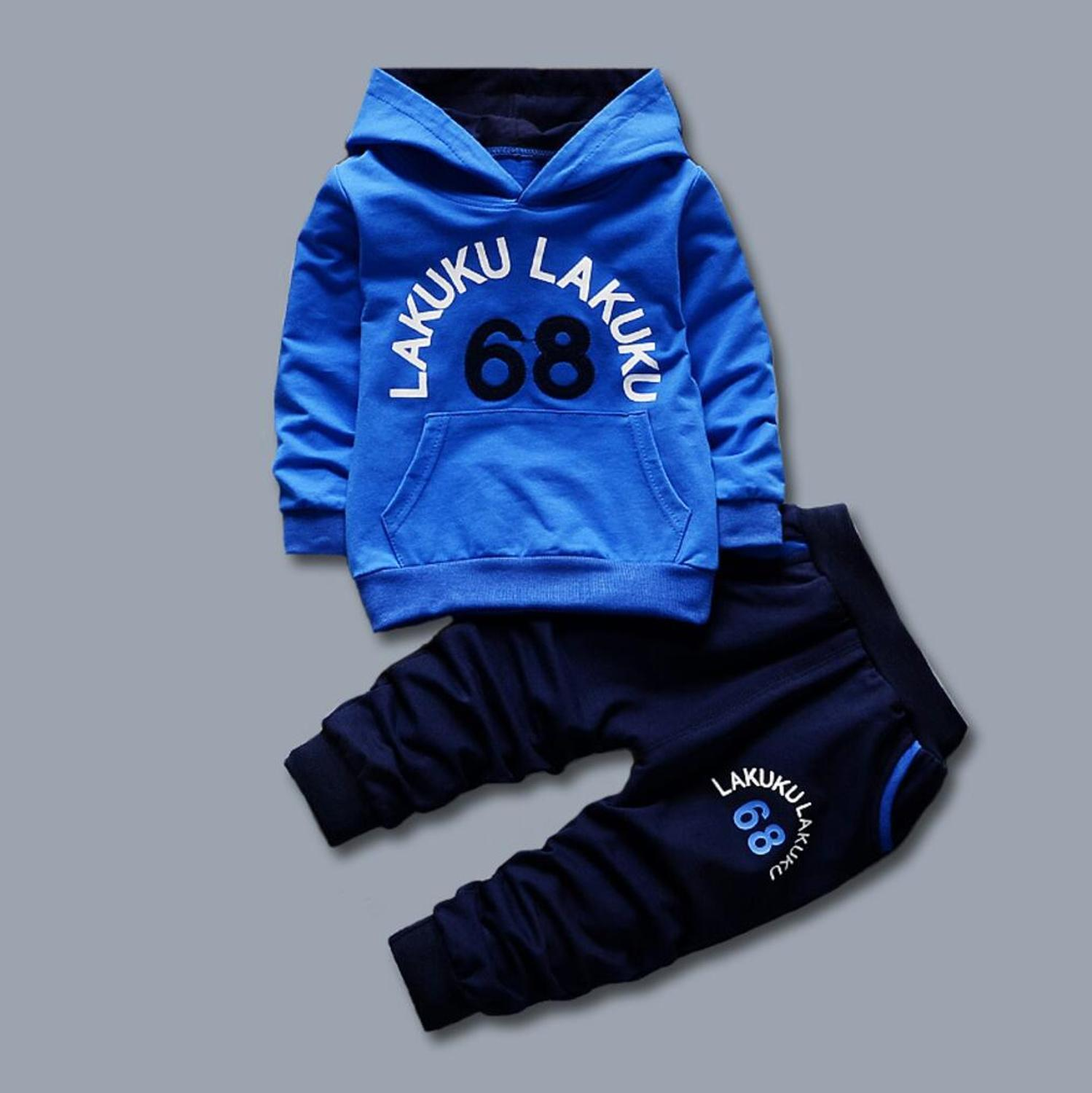 2PCS Kids Toddler Baby Boy Suit Long Sleeve Hooded Tops T-shirt+Pants Tracksuit