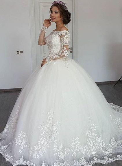Photo of Elegante Weiße Brautkleider mit Ärmel Prinzessin Hochzeitskleider Spitze Günstig Modellnummer:  XY008-BC0311