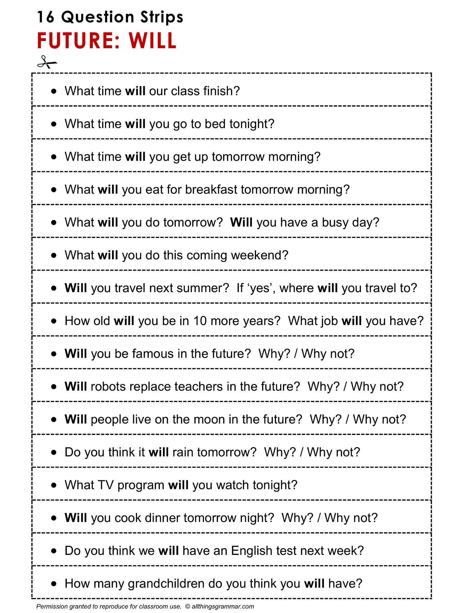 English Grammar Discussion Practice Future Will 16