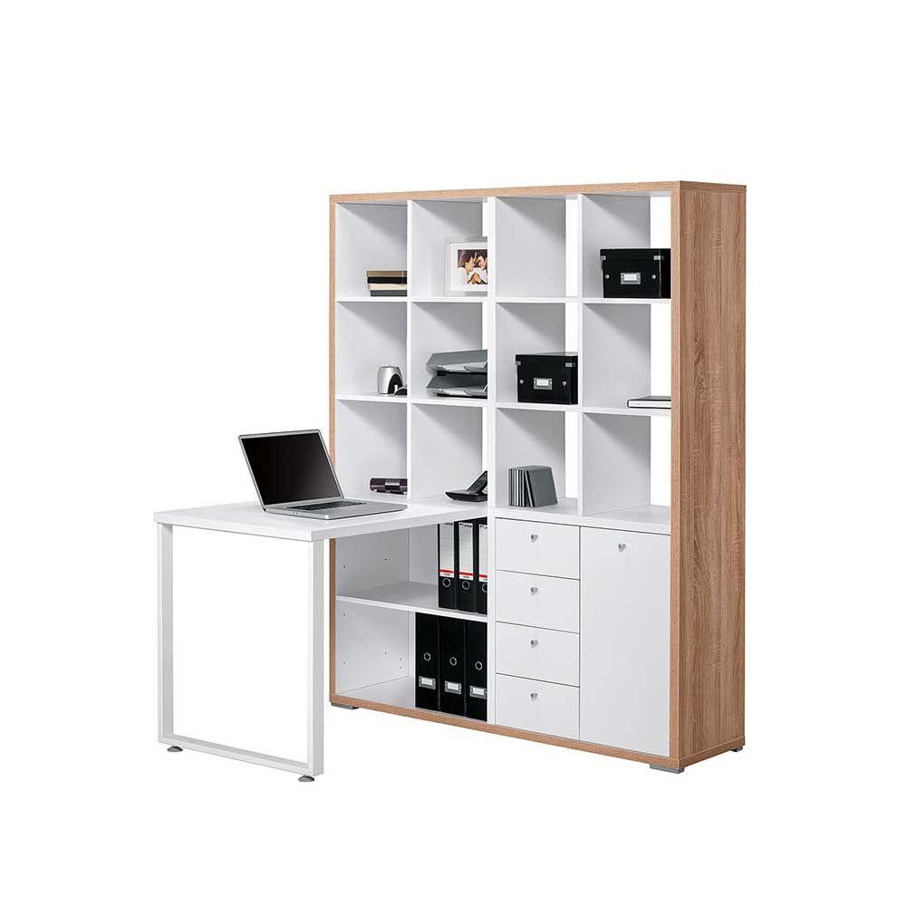 Schreibtisch Mit Regalteil Weiß Eiche Sonoma (2-teilig