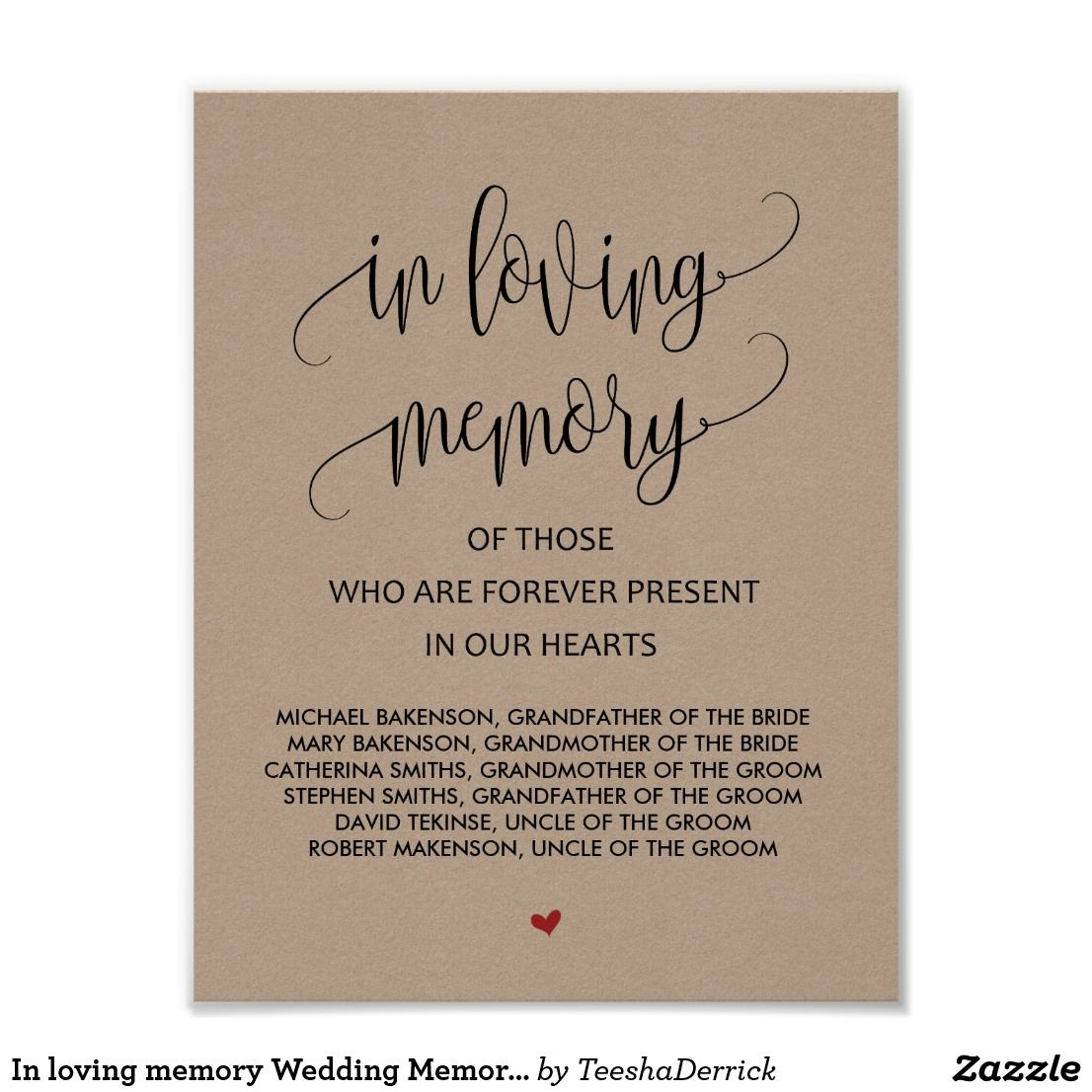 In Loving Memory Wedding Memorial Table Sign