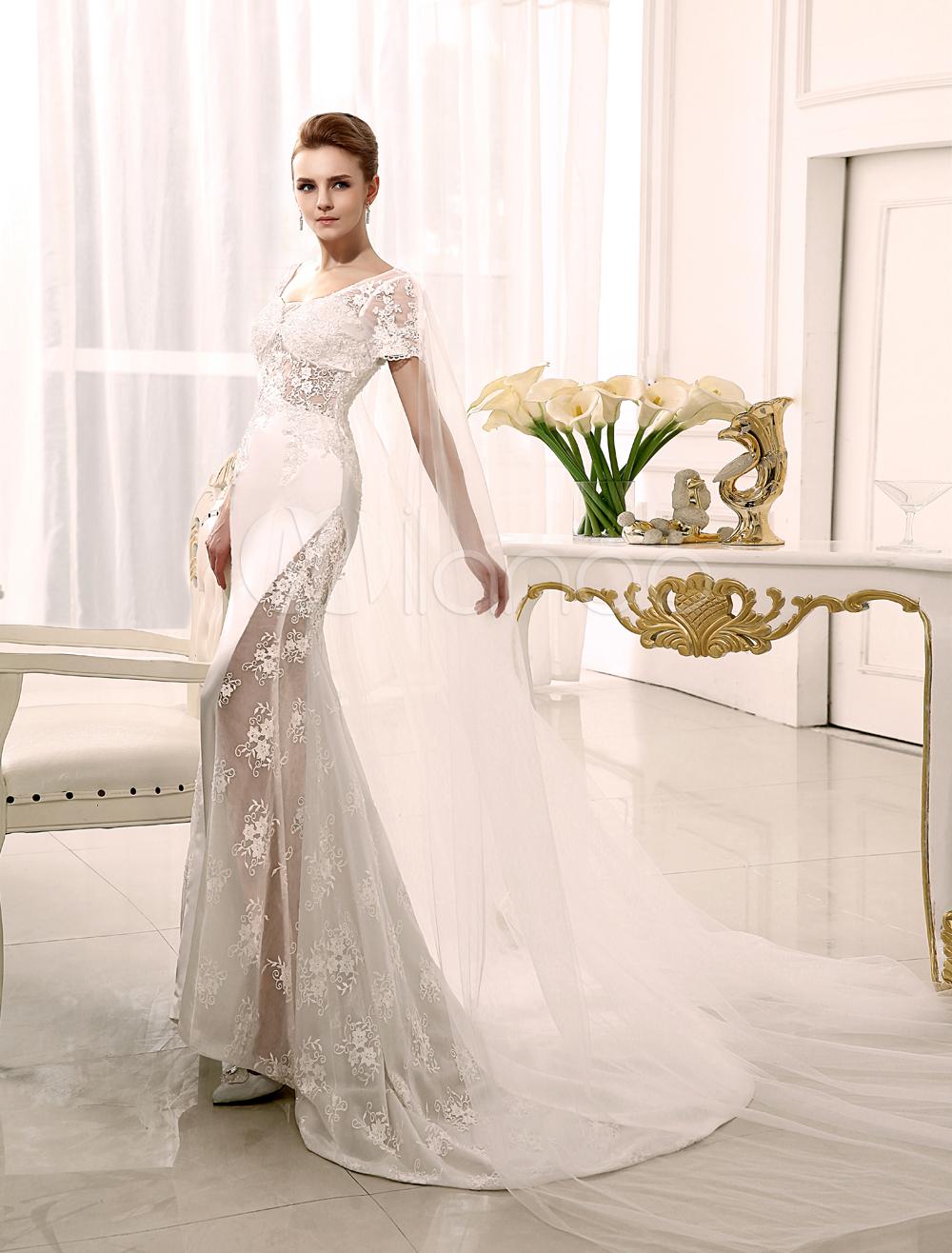 Mermaid watteau train ivory applique bridal wedding dress with scoop