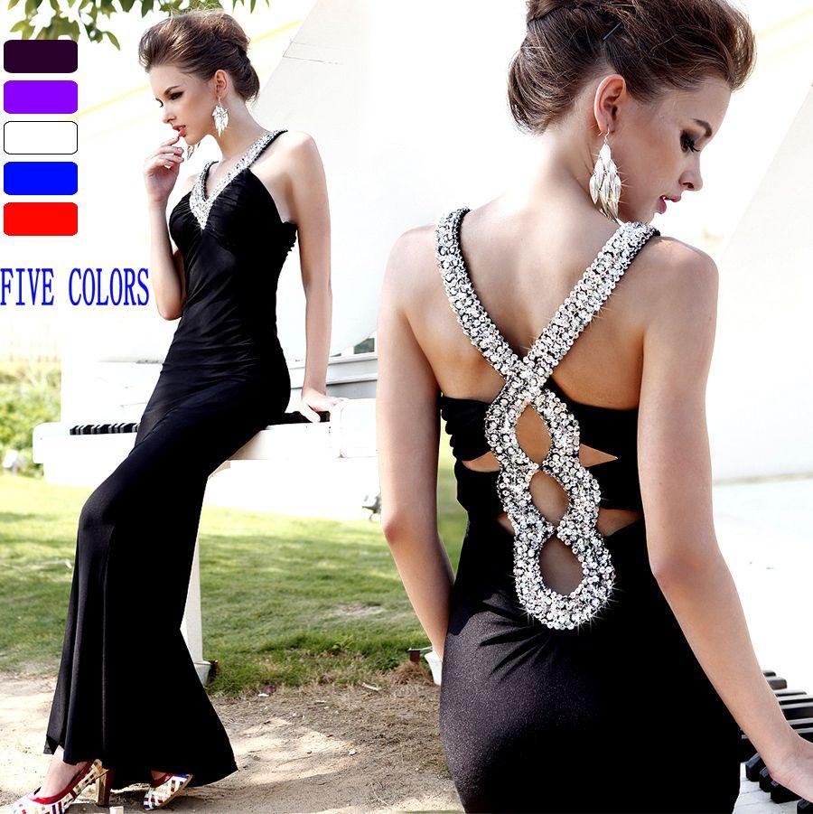 Balmain red white and black long dresses neckbackcrossprom