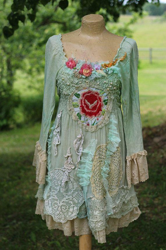 Cottage rose bohemian shabby chic tunic by FleursBoheme on
