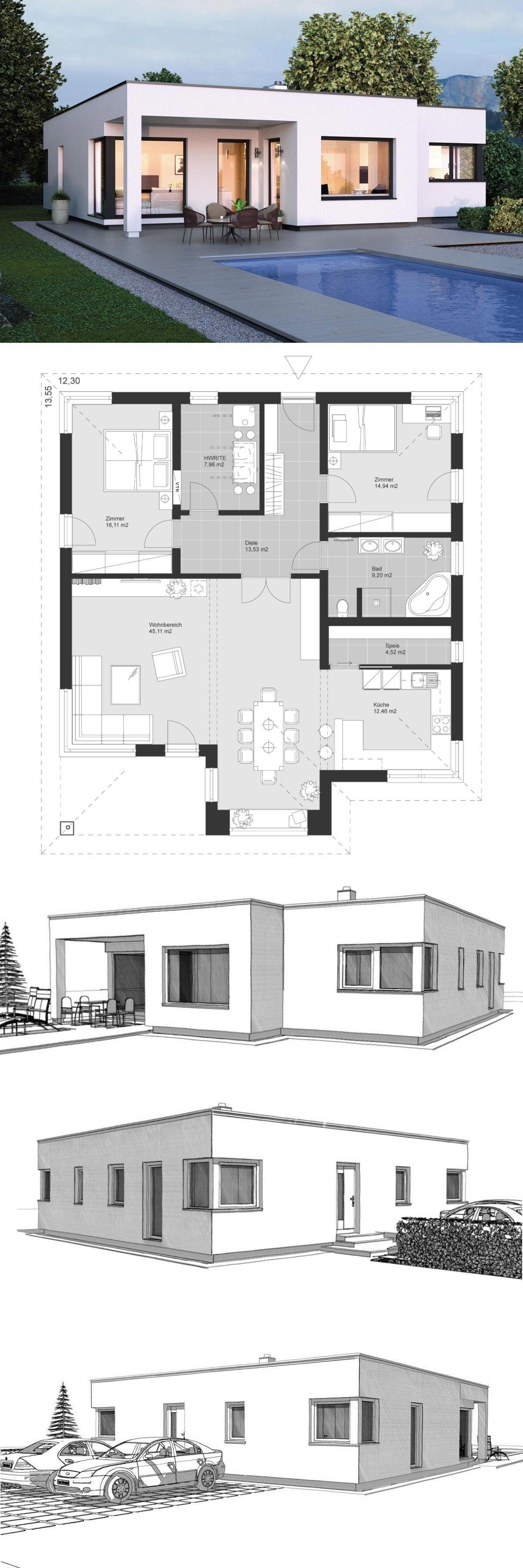 Moderner Winkelbungalow im Bauhaus Design Grundriss ebenerdig mit