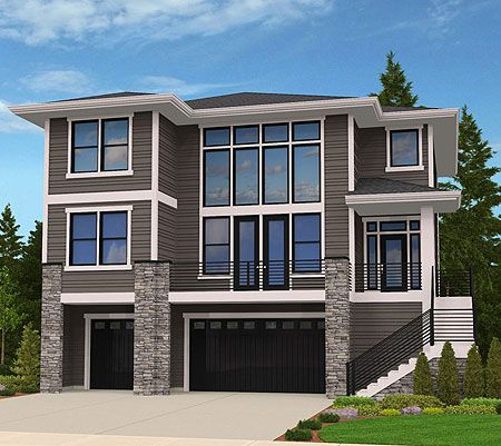 Architecture Design House Plans plan 85080ms: 4 bed modern for an uphill lot | architectural