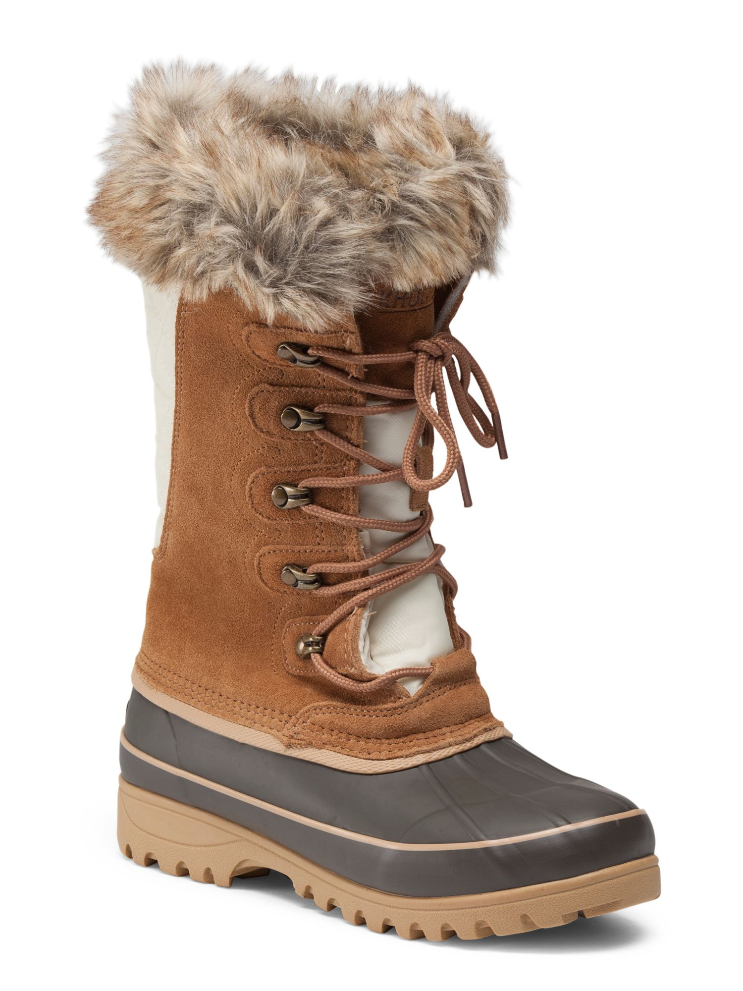 faux leather faux fur lace up duck boot Leather and lace