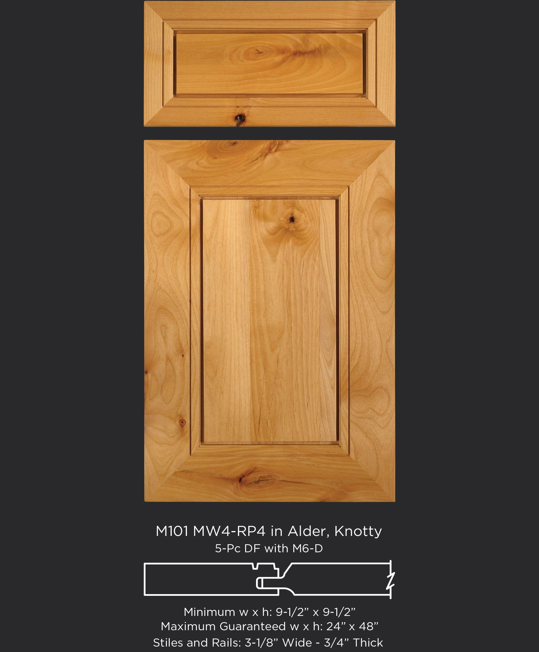 Knotty Alder Cabinet Door With Wide Frame And Unique Flat Raised