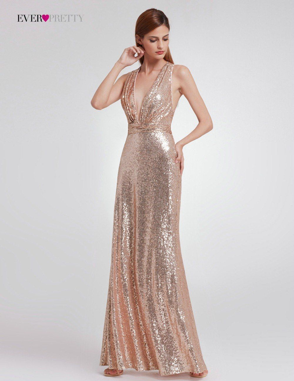 2018 Straight Modern Sequined Evening Dress Ever Pretty EP07109 Women S  Sexy Long Deep V-Neck Sleeveless Shiny Party Dresses - TakoFashion - Women s  ... 9d4beb77bdd6