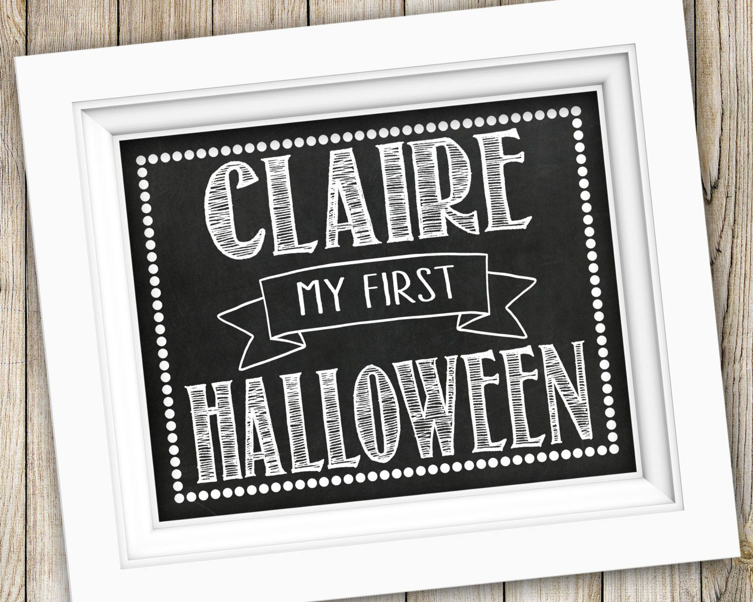 My First Halloween Printable ~ Personalized Baby's First Halloween Sign ~ Printable Halloween Photo Prop ~ Chalkboard Halloween Poster Print by SubwayStyle on Etsy