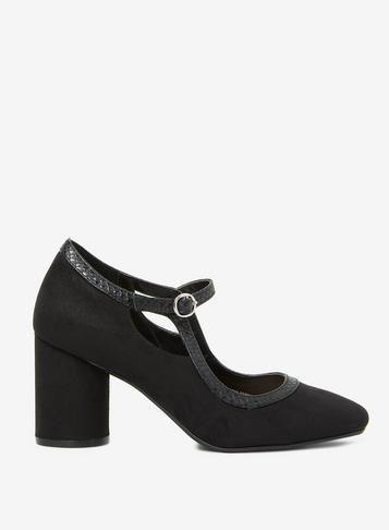 4d038caadbc7 Womens Black Microfibre  Glory  Court Shoes- Black