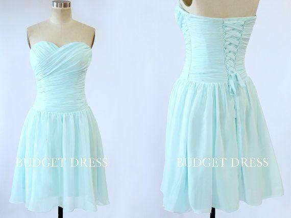 Short Bridesmaid Dress with Sweetheart Neckline Chiffon Bridesmaid ...
