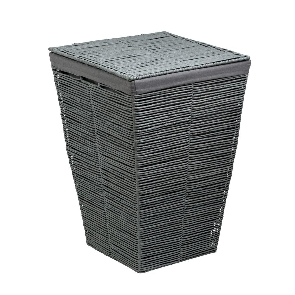 Honey Can Do Coastal Collection Grey Rolled Paper Laundry Hamper