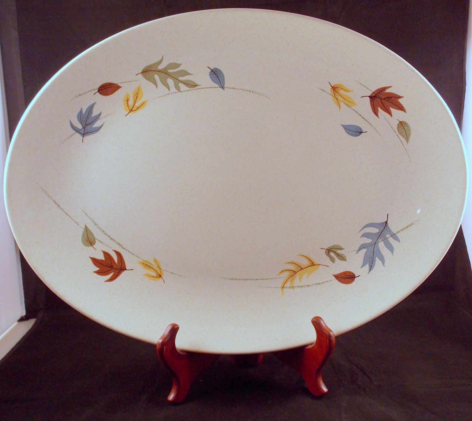 Vintage Franciscan 16 Inch Oval Serving Platter Autumn Leaves Earthenware