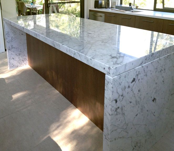 Carrara Marble Used For Kitchen Bench Top. Made By Marable