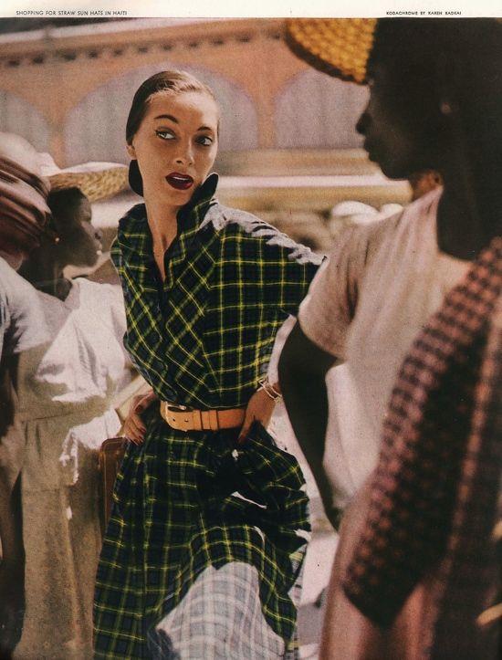 1950, Photo taken in Haiti by Karen Radkai for Harper's Bazaar. The model is actress Elizabeth Threatt.