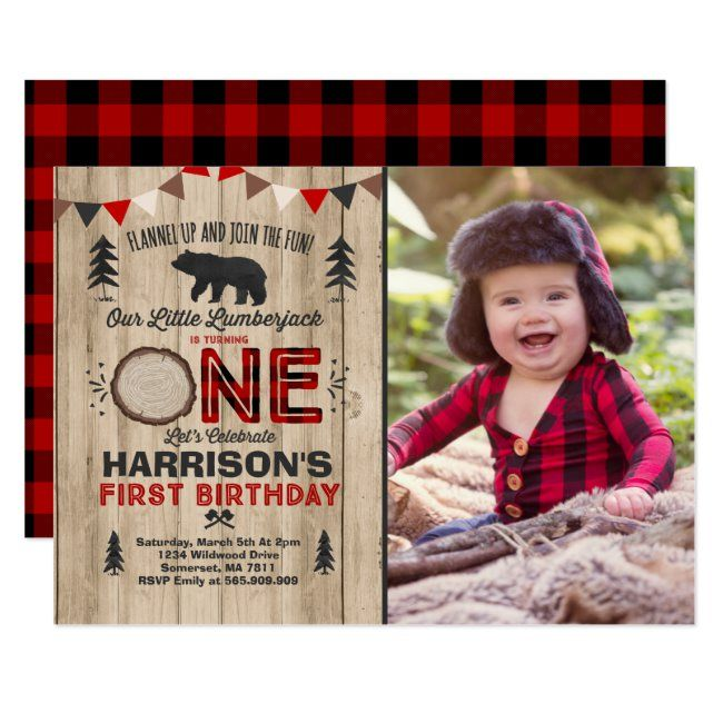 Lumberjack Birthday Invitation Lumberjack Party #boy1st #1st #lumberjack #woodland #plaid #tartan #pattern #invitation #invites #cards #custom #DIY