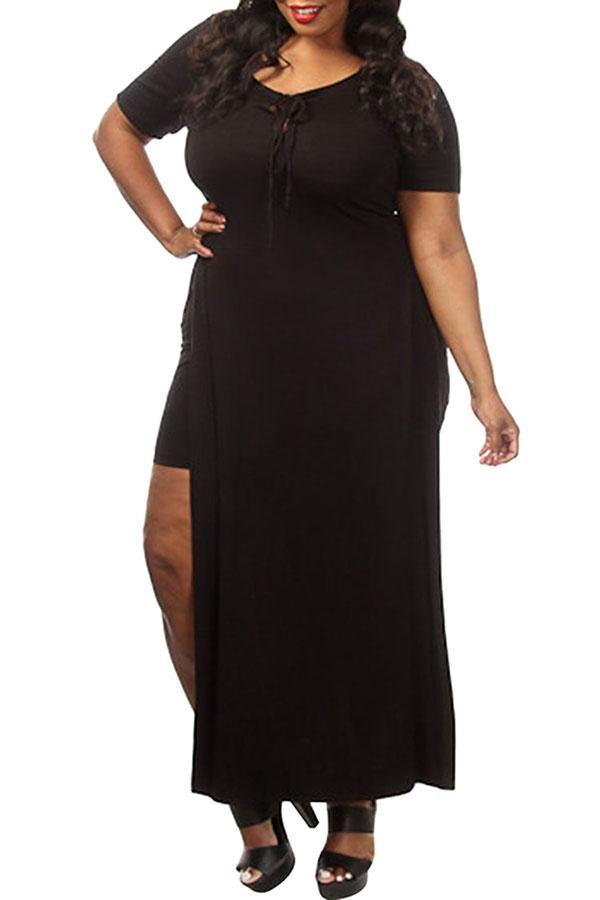 Cheap Black Plus Size Lace Up Slit 2 Piece Maxi Dresses Maxi