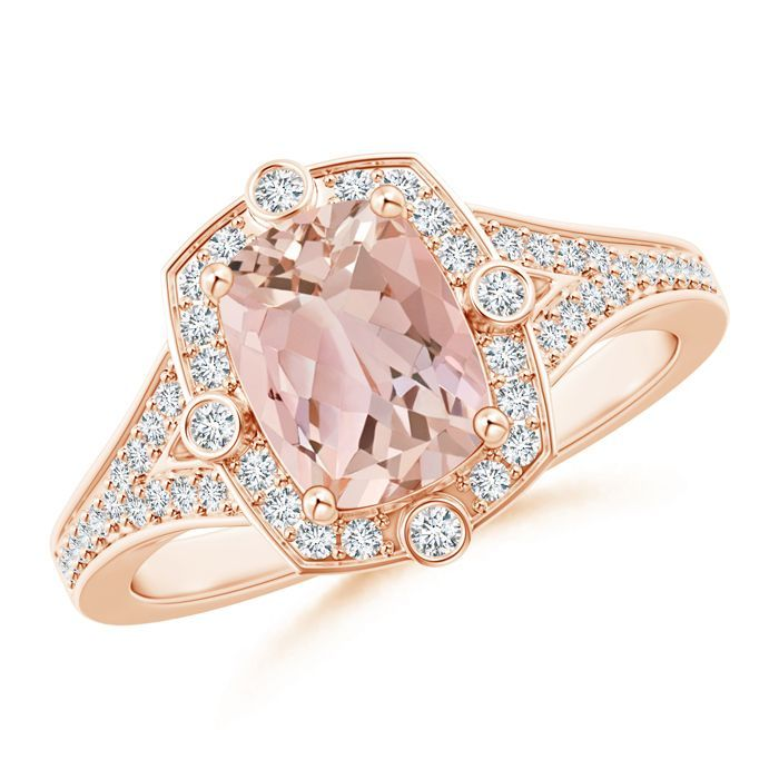 Angara Vintage Cushion Morganite Halo Ring with Diamond Halo 1FkfPntcm